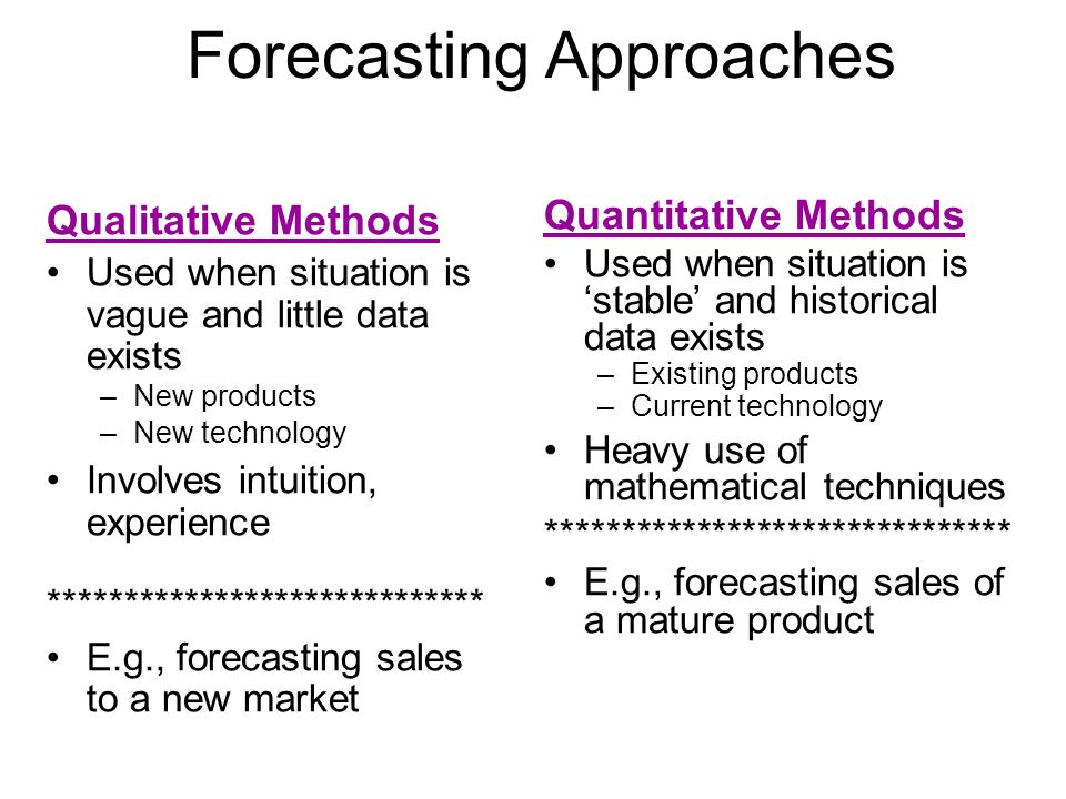 Quantitative Methods Used when situation is stable and historical data exists –Existing products –Current technology Heavy use of mathematical techniq