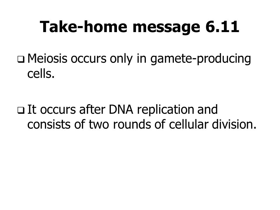 Take-home message 6.11 Meiosis occurs only in gamete-producing cells. It occurs after DNA replication and consists of two rounds of cellular division.