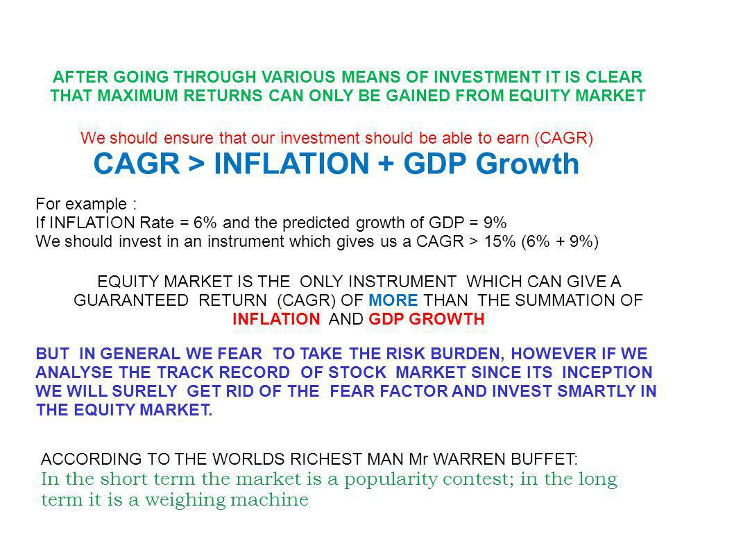 AFTER GOING THROUGH VARIOUS MEANS OF INVESTMENT IT IS CLEAR THAT MAXIMUM RETURNS CAN ONLY BE GAINED FROM EQUITY MARKET BUT IN GENERAL WE FEAR TO TAKE THE RISK BURDEN, HOWEVER IF WE ANALYSE THE TRACK RECORD OF STOCK MARKET SINCE ITS INCEPTION WE WILL SURELY GET RID OF THE FEAR FACTOR AND INVEST SMARTLY IN THE EQUITY MARKET.