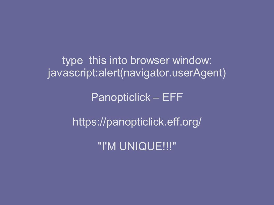 type this into browser window: javascript:alert(navigator.userAgent) Panopticlick – EFF   I M UNIQUE!!!