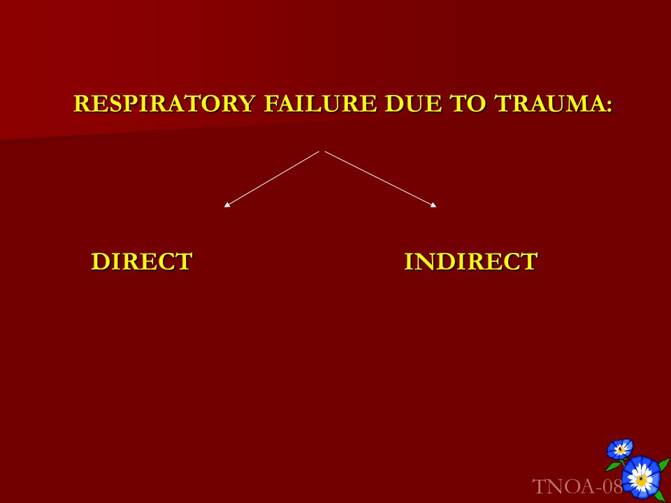 RESPIRATORY FAILURE DUE TO TRAUMA: DIRECTINDIRECT TNOA-08