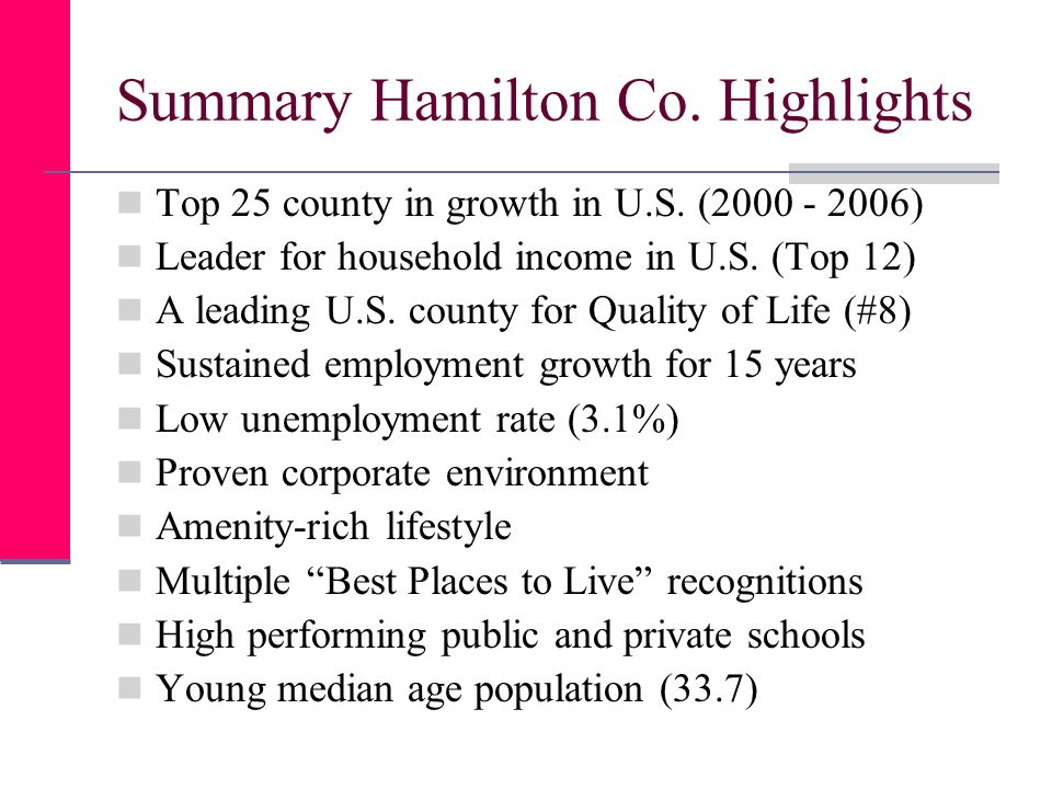 Summary Hamilton Co. Highlights Top 25 county in growth in U.S.