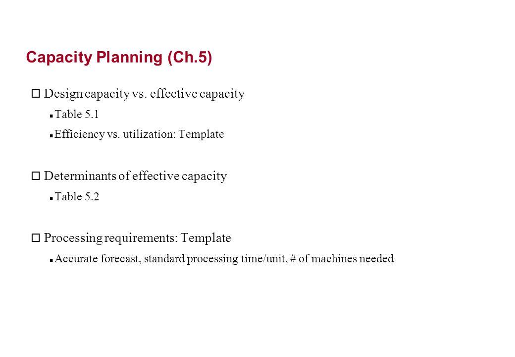 Capacity Planning (Ch.5) o Design capacity vs. effective capacity Table 5.1 Efficiency vs.