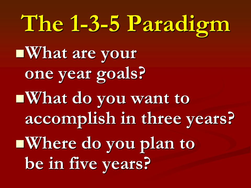 The Paradigm What are your one year goals. What are your one year goals.