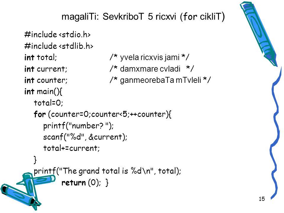 magaliTi: SevkriboT 5 ricxvi ( for cikliT ) #include int total; /* yvela ricxvis jami */ int current;/* damxmare cvladi */ int counter;/* ganmeorebaTa mTvleli */ int main(){ total=0; for (counter=0;counter<5;++counter){ printf( number.