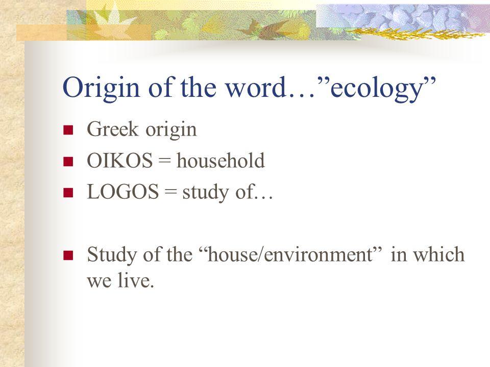 Origin of the word…ecology Greek origin OIKOS = household LOGOS = study of… Study of the house/environment in which we live.