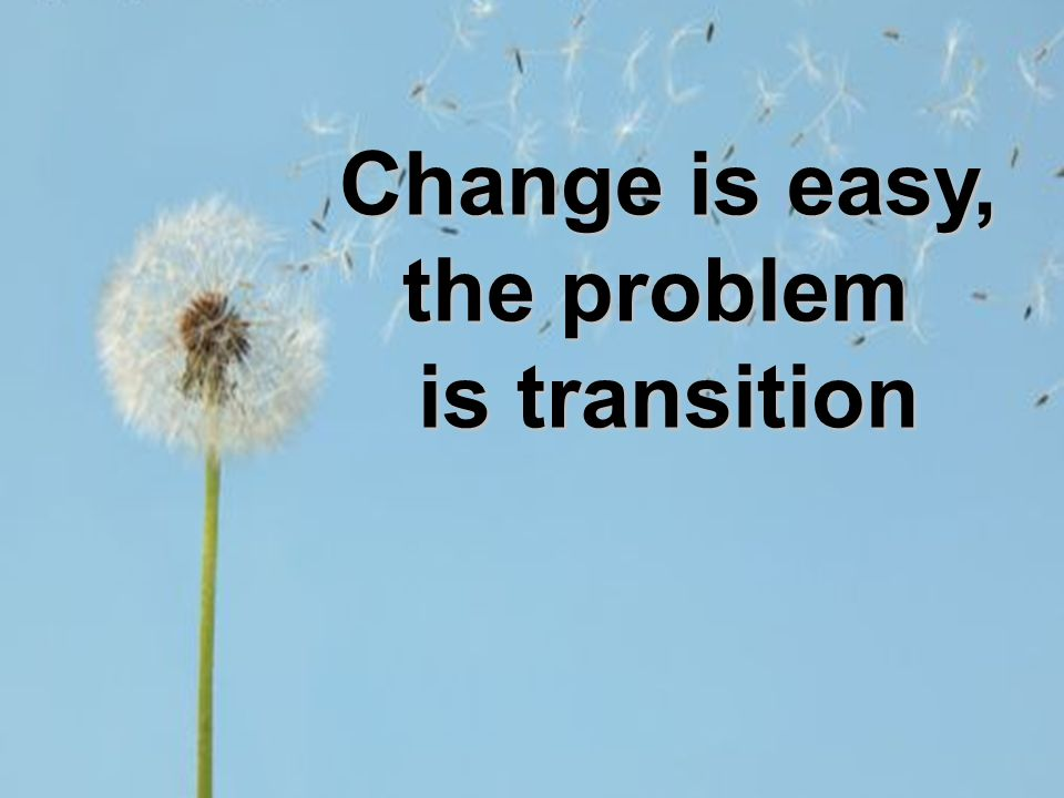 Change is easy, the problem is transition
