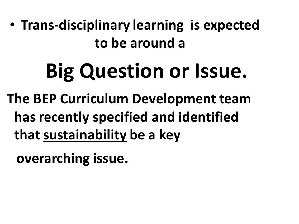 Trans-disciplinary learning is expected to be around a Big Question or Issue. The BEP Curriculum Development team has recently specified and identifie