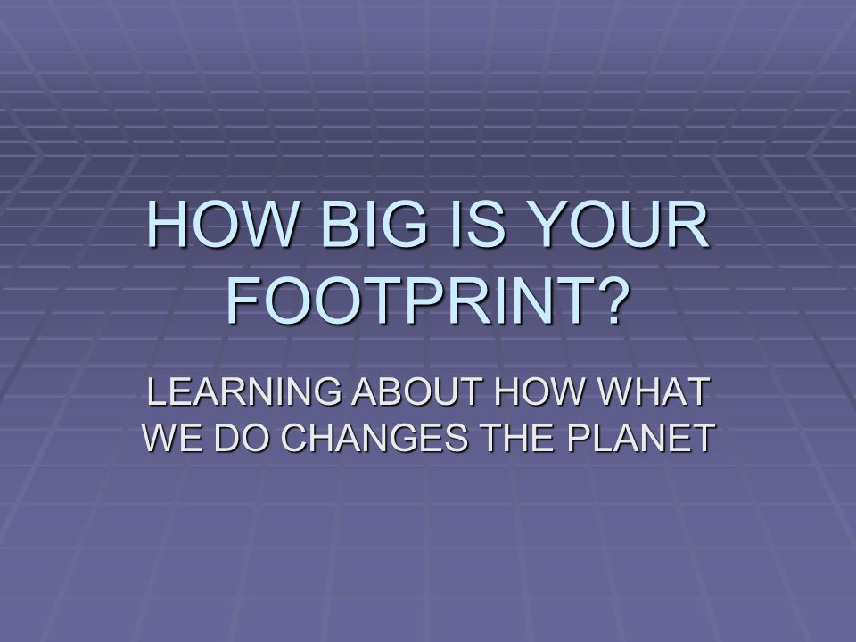 HOW BIG IS YOUR FOOTPRINT LEARNING ABOUT HOW WHAT WE DO CHANGES THE PLANET