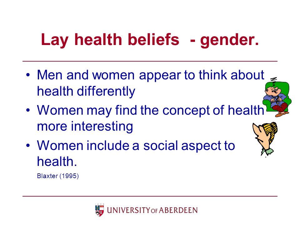 Lay health beliefs - gender.