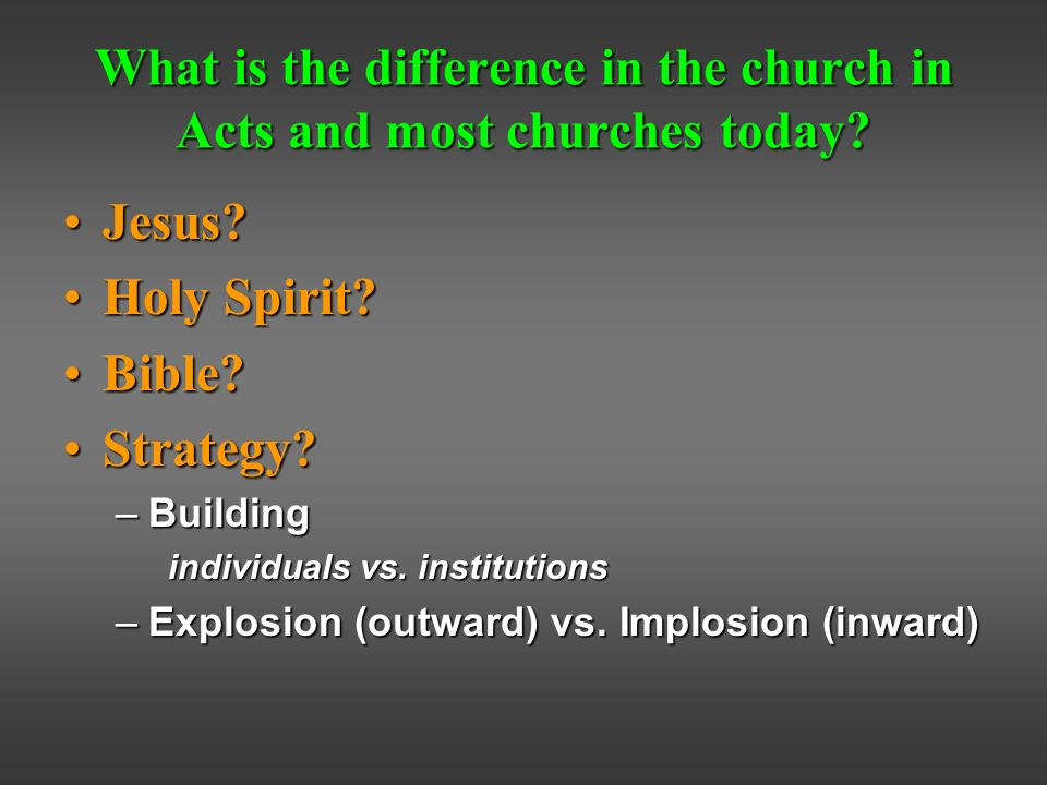 What is the difference in the church in Acts and most churches today.