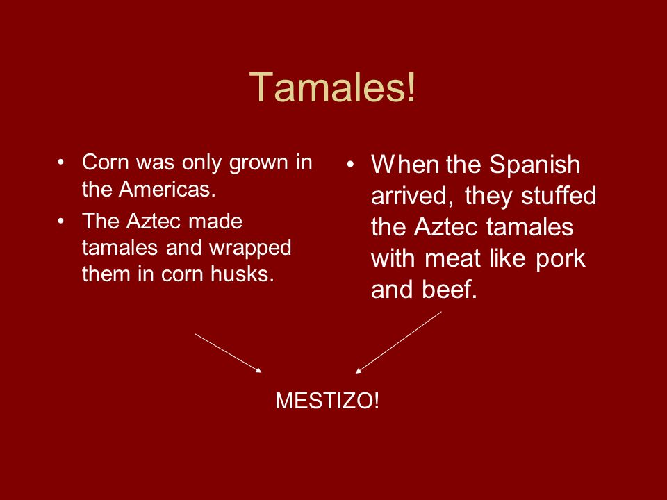 Tamales! Corn was only grown in the Americas. The Aztec made tamales and wrapped them in corn husks. When the Spanish arrived, they stuffed the Aztec