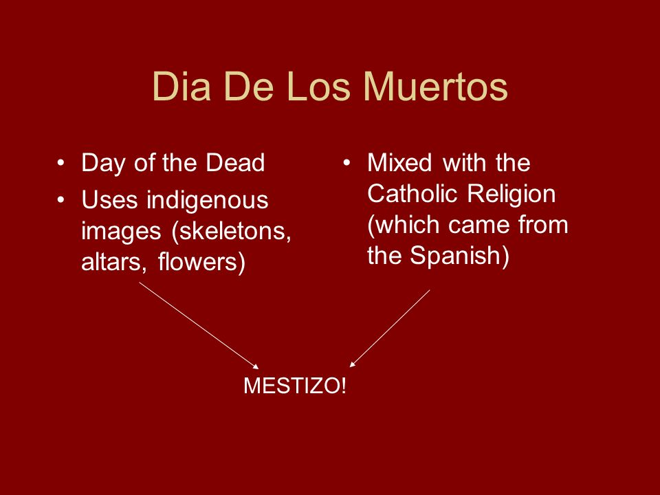 Dia De Los Muertos Day of the Dead Uses indigenous images (skeletons, altars, flowers) Mixed with the Catholic Religion (which came from the Spanish)