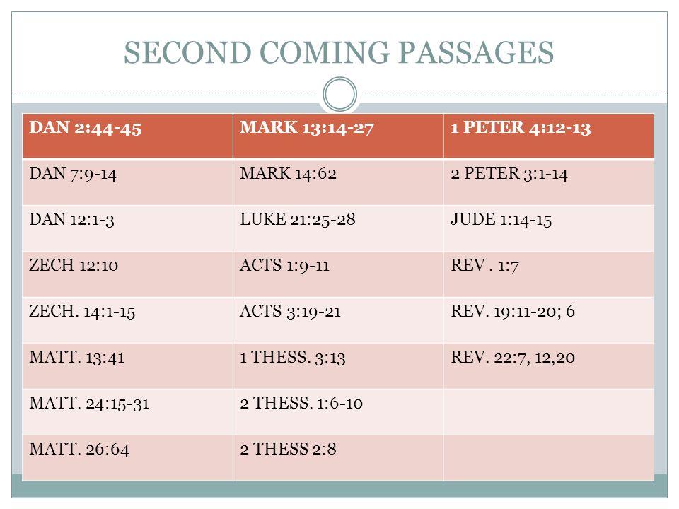 SECOND COMING PASSAGES DAN 2:44-45MARK 13:14-271 PETER 4:12-13 DAN 7:9-14MARK 14:622 PETER 3:1-14 DAN 12:1-3LUKE 21:25-28JUDE 1:14-15 ZECH 12:10ACTS 1