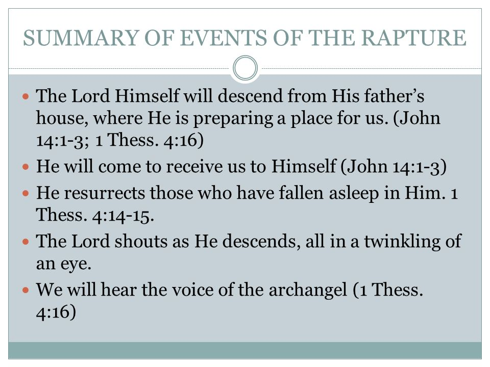 SUMMARY OF EVENTS OF THE RAPTURE The Lord Himself will descend from His fathers house, where He is preparing a place for us.