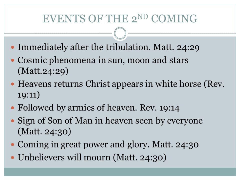 EVENTS OF THE 2 ND COMING Immediately after the tribulation.