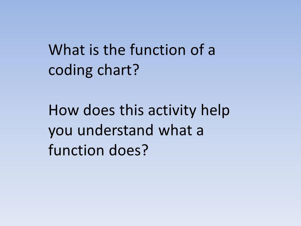 What is the function of a coding chart.