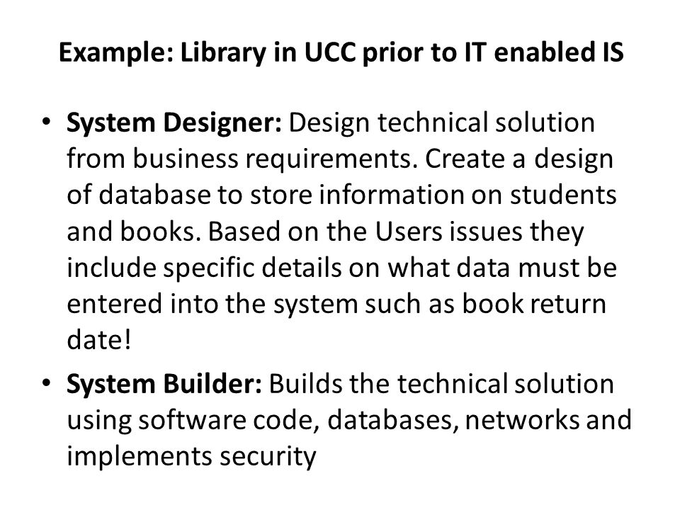 System Designer: Design technical solution from business requirements. Create a design of database to store information on students and books. Based o