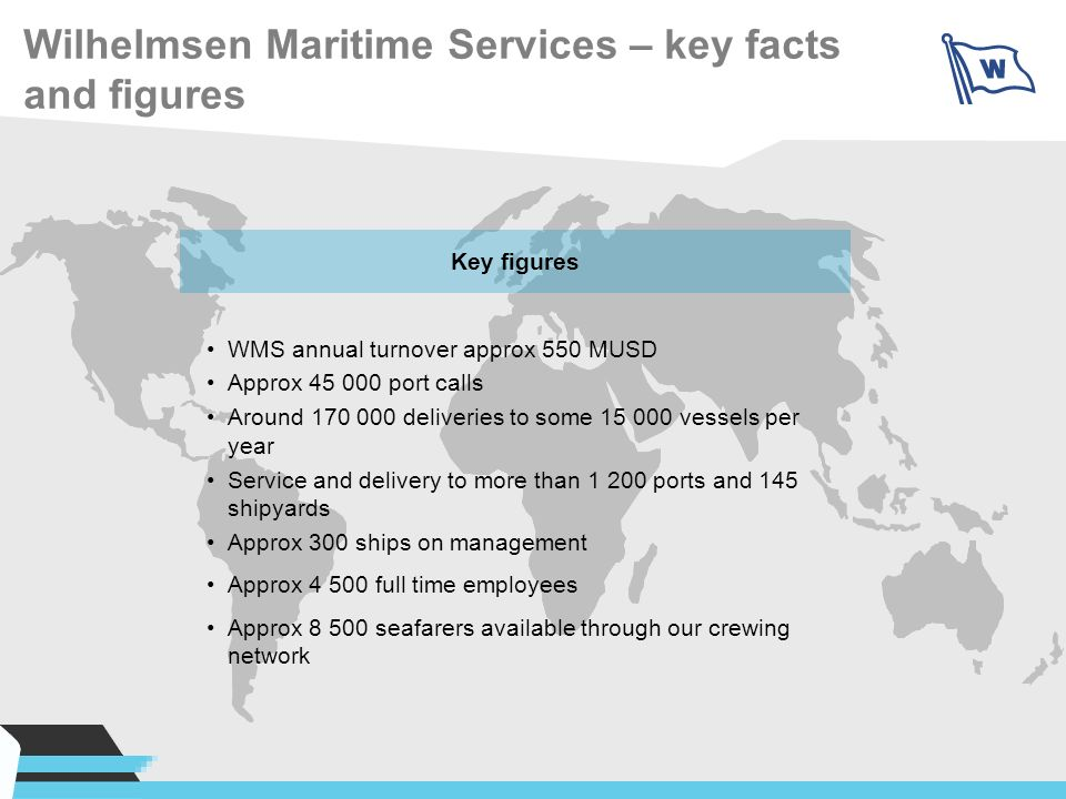 Wilhelmsen Maritime Services – key facts and figures Key figures WMS annual turnover approx 550 MUSD Approx 45 000 port calls Around 170 000 deliverie