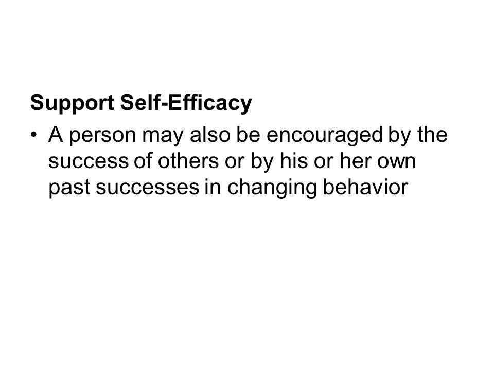 Support Self-Efficacy A person may also be encouraged by the success of others or by his or her own past successes in changing behavior