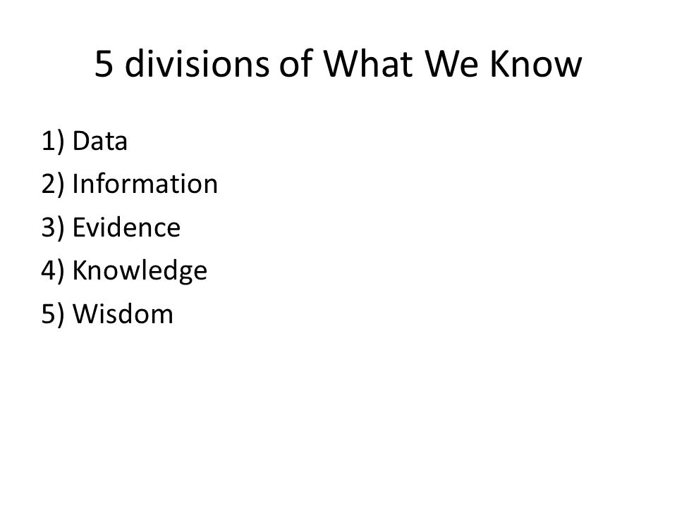 5 divisions of What We Know 1) Data 2) Information 3) Evidence 4) Knowledge 5) Wisdom