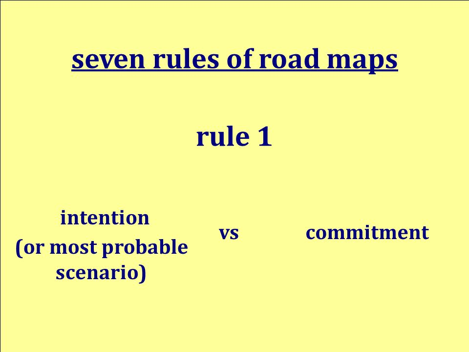intention seven rules of road maps rule 1 commitmentvs (or most probable scenario)