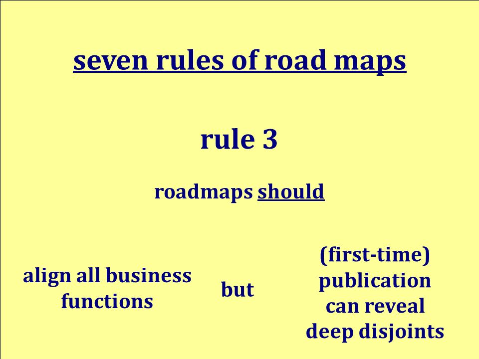 align all business functions seven rules of road maps rule 3 (first-time) publication can reveal deep disjoints but roadmaps should