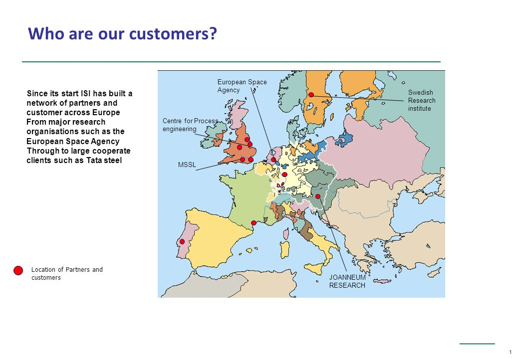 1 Location of Partners and customers Who are our customers.