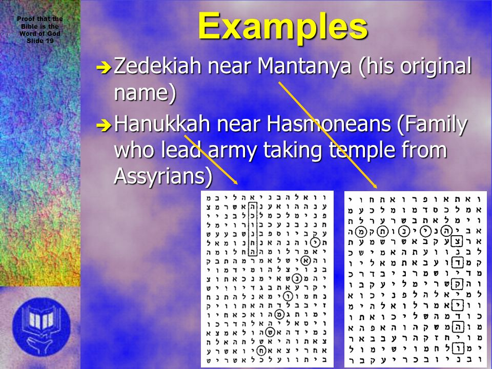 Proof that the Bible is the Word of God Slide 19 Examples è Zedekiah near Mantanya (his original name) è Hanukkah near Hasmoneans (Family who lead army taking temple from Assyrians)