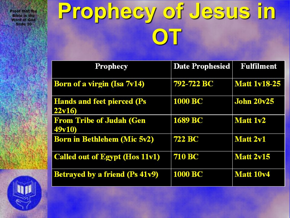 Proof that the Bible is the Word of God Slide 30 Prophecy of Jesus in OT