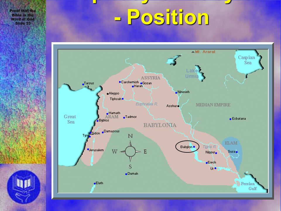 Proof that the Bible is the Word of God Slide 33 Prophecy of Babylon - Position