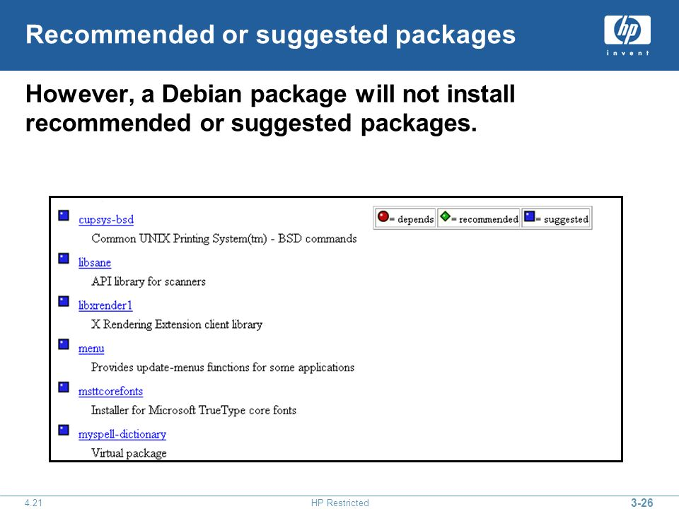3-26 4.21HP Restricted Recommended or suggested packages However, a Debian package will not install recommended or suggested packages.