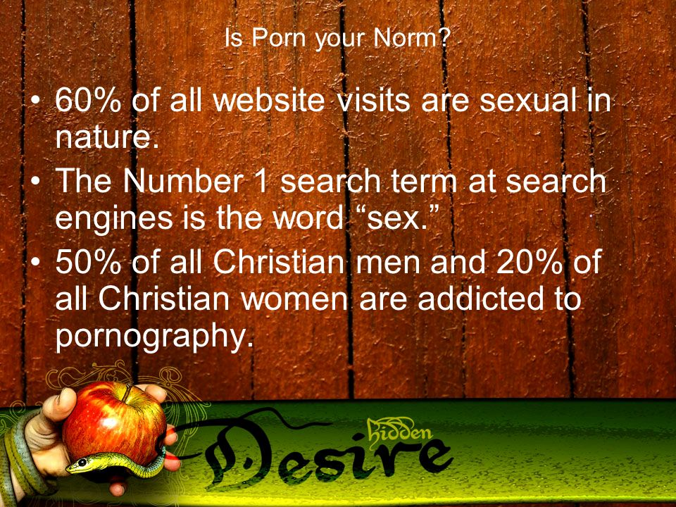 Is Porn your Norm. 60% of all website visits are sexual in nature.