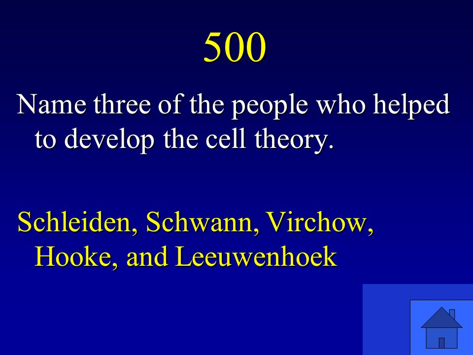 500 Name three of the people who helped to develop the cell theory.