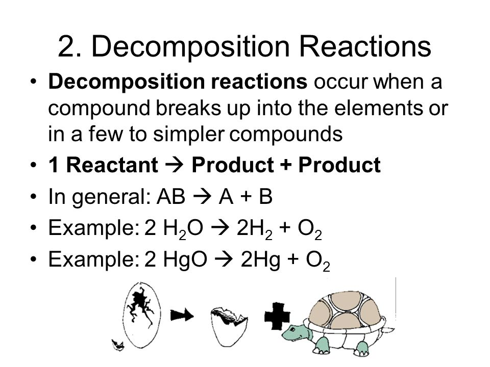 1. Synthesis reactions Synthesis reactions occur when two substances (generally elements) combine and form a compound. (Sometimes these are called com