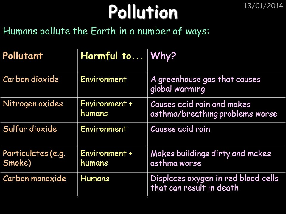 13/01/2014 Removing Pollution There are many ways pollution can be reduced: Use less electricity/central heating Remove toxic chemicals before or after they are burnt Use alternative energy sources, e.g.