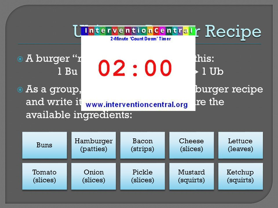 A burger recipe might look like this: 1 Bu + 2 Hb + 1 Ch + 4 Ba 1 Ub As a group, develop your ultimate burger recipe and write it as an equation.
