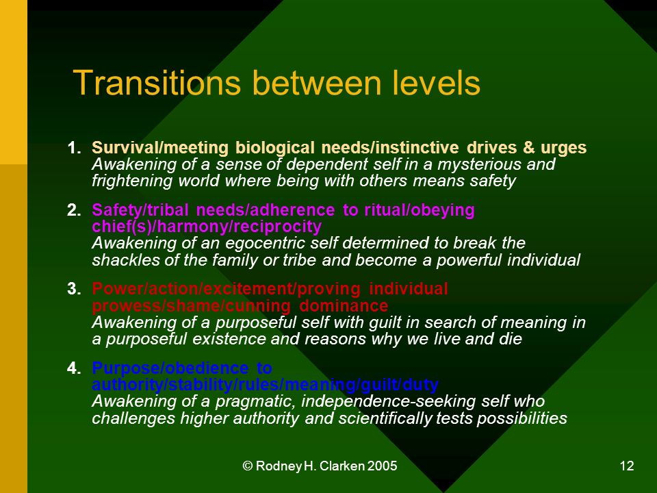 © Rodney H. Clarken 2005 12 Transitions between levels 1.Survival/meeting biological needs/instinctive drives & urges Awakening of a sense of dependen