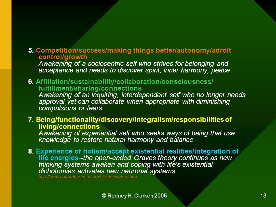 © Rodney H. Clarken 2005 13 5. Competition/success/making things better/autonomy/adroit control/growth Awakening of a sociocentric self who strives fo