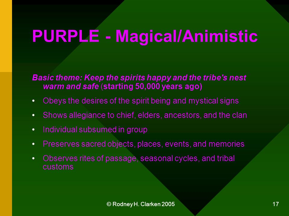 © Rodney H. Clarken 2005 17 PURPLE - Magical/Animistic Basic theme: Keep the spirits happy and the tribe's nest warm and safe (starting 50,000 years a