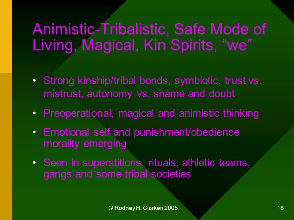 © Rodney H. Clarken 2005 18 Animistic-Tribalistic, Safe Mode of Living, Magical, Kin Spirits, we Strong kinship/tribal bonds, symbiotic, trust vs. mis