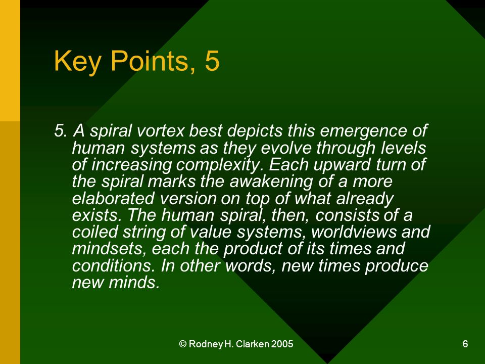 © Rodney H. Clarken 2005 6 Key Points, 5 5. A spiral vortex best depicts this emergence of human systems as they evolve through levels of increasing c