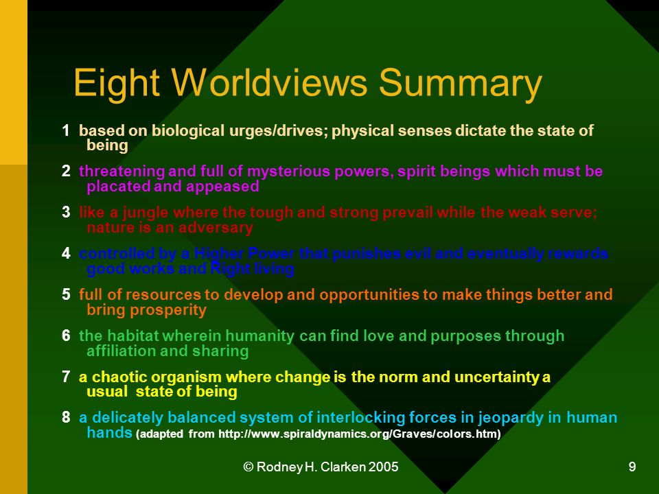 © Rodney H. Clarken 2005 9 Eight Worldviews Summary 1 based on biological urges/drives; physical senses dictate the state of being 2 threatening and f