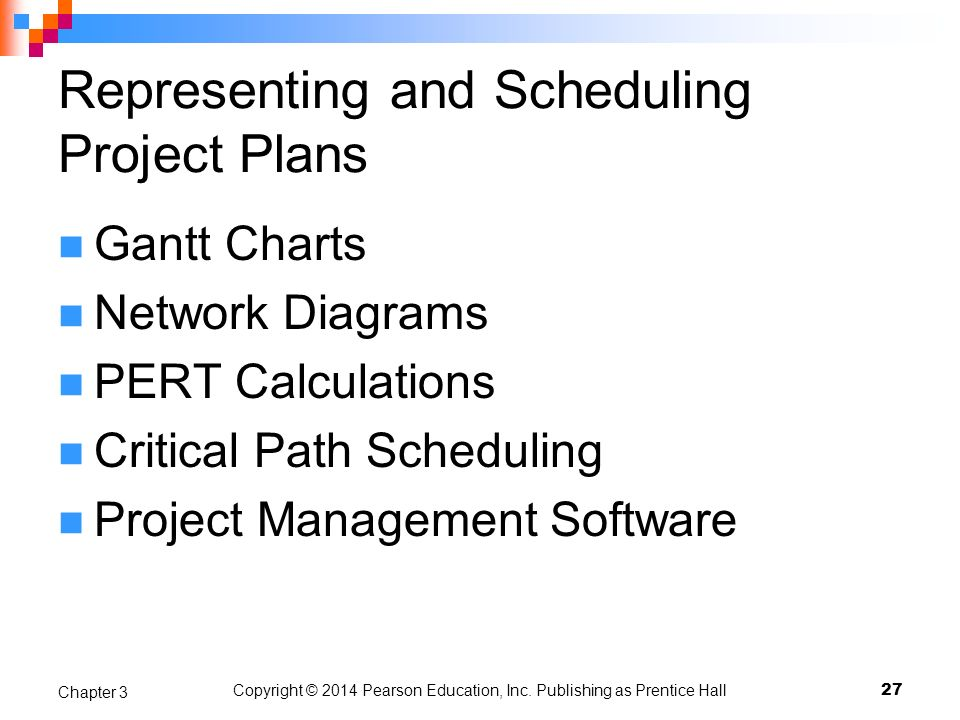 Copyright © 2014 Pearson Education, Inc. Publishing as Prentice Hall Representing and Scheduling Project Plans Gantt Charts Network Diagrams PERT Calc