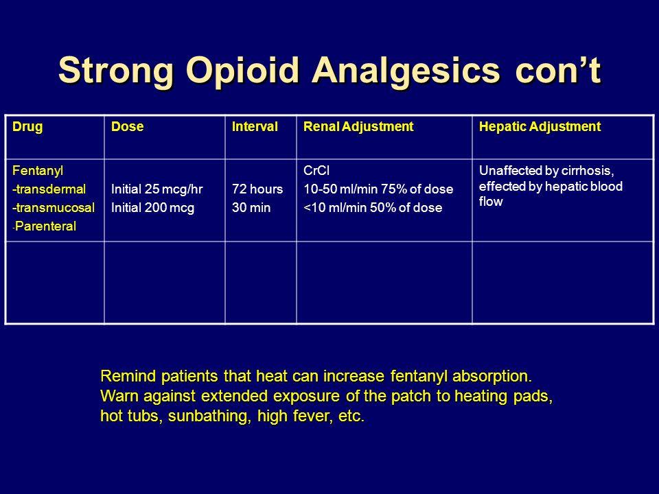 Strong Opioid Analgesics cont DrugDoseIntervalRenal AdjustmentHepatic Adjustment Fentanyl -transdermal -transmucosal - Parenteral Initial 25 mcg/hr In