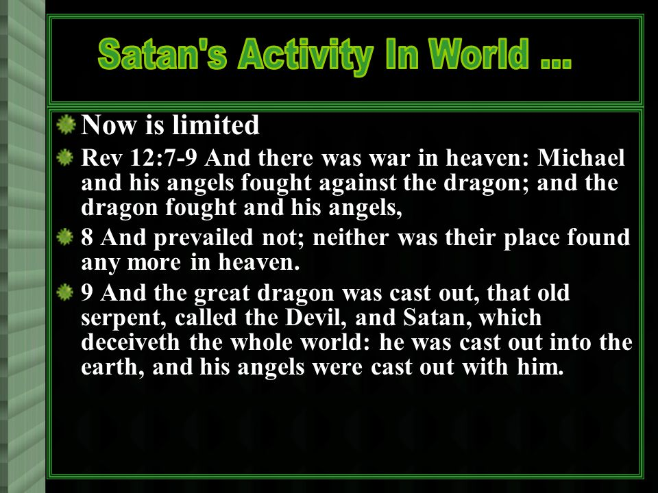 Now is limited Rev 12:7-9 And there was war in heaven: Michael and his angels fought against the dragon; and the dragon fought and his angels, 8 And p