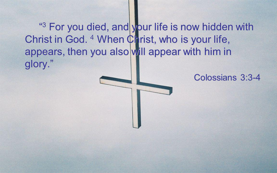 3 For you died, and your life is now hidden with Christ in God. 4 When Christ, who is your life, appears, then you also will appear with him in glory.