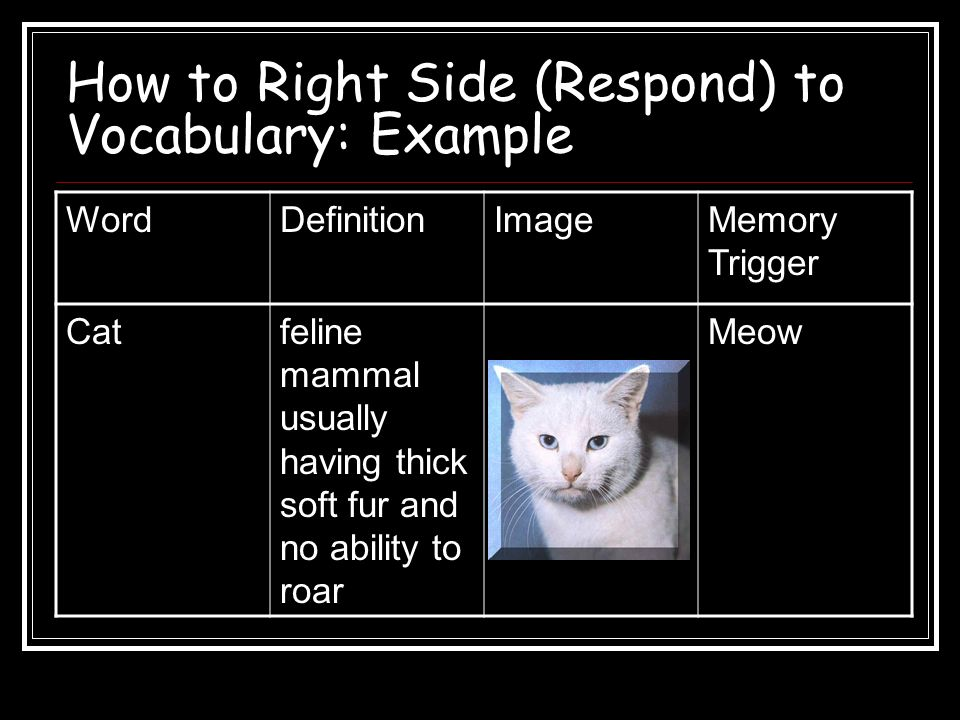 How to Right Side (Respond) to Vocabulary: Example WordDefinitionImageMemory Trigger Catfeline mammal usually having thick soft fur and no ability to roar Meow