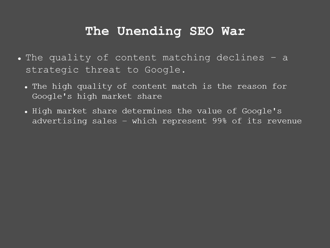 The Unending SEO War The quality of content matching declines – a strategic threat to Google.