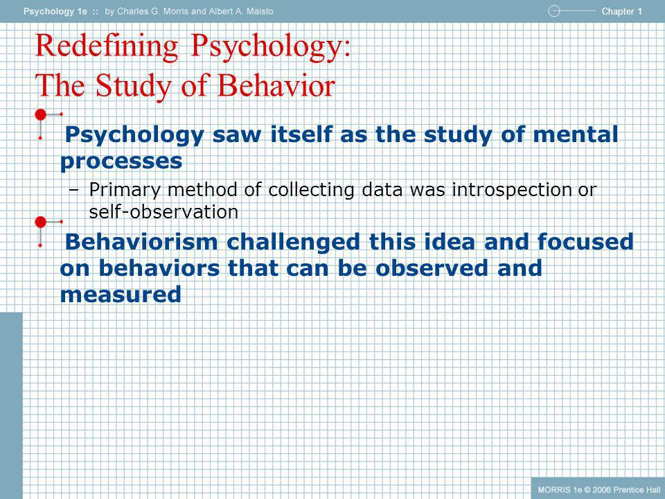 Chapter 1 Redefining Psychology: The Study of Behavior Psychology saw itself as the study of mental processes –Primary method of collecting data was i